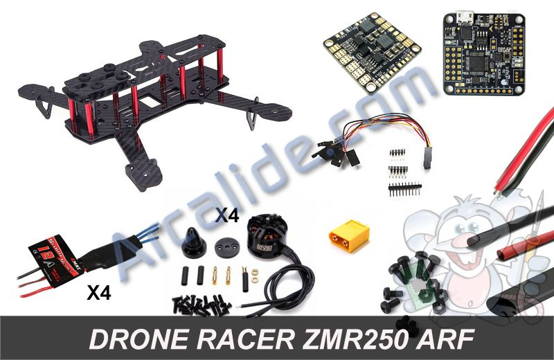 acheter kit drone racer zmr250 arf complet monter pas cher drones fpv racer. Black Bedroom Furniture Sets. Home Design Ideas