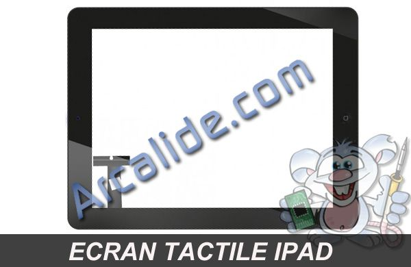 cran tactile de rechange pour ipad 1 3g wifi arcalide. Black Bedroom Furniture Sets. Home Design Ideas