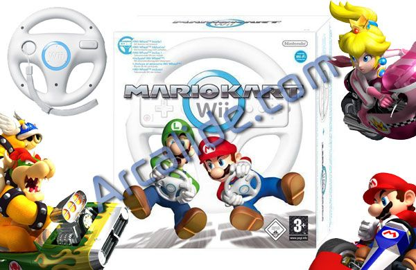 jeu mario kart avec volant pour console nintendo wii arcalide. Black Bedroom Furniture Sets. Home Design Ideas