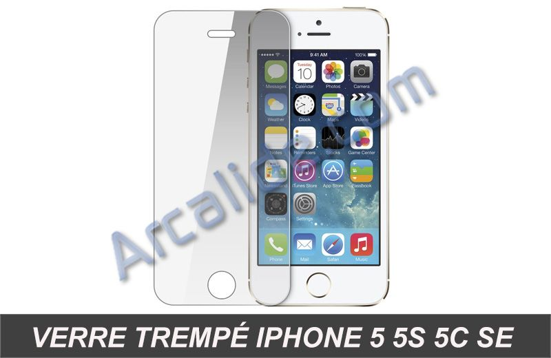film de protection cran iphone 5 5s 5c se en verre tremp. Black Bedroom Furniture Sets. Home Design Ideas
