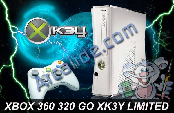 xbox 360 slim blanche 320 go avec puce x360key install e arcalide. Black Bedroom Furniture Sets. Home Design Ideas
